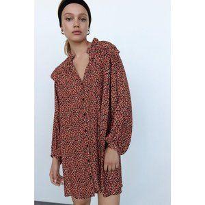 Zara Red Floral Printed Dress Size L